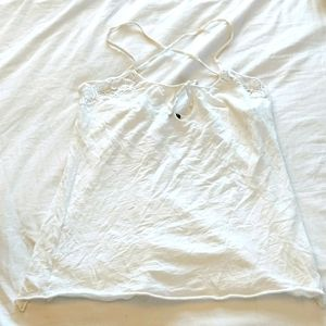 Sisley Size Small White Tank Top String Crossback